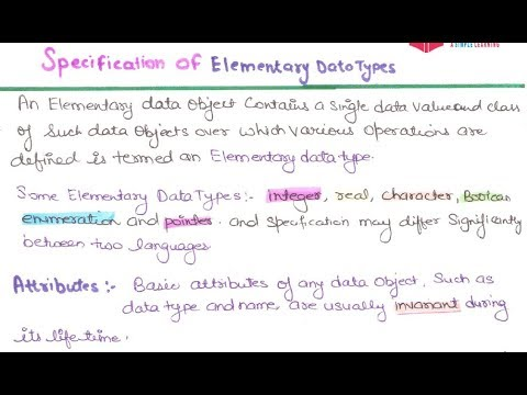 11- Specification Of Elementary Data Type in Programming Languages in hindi