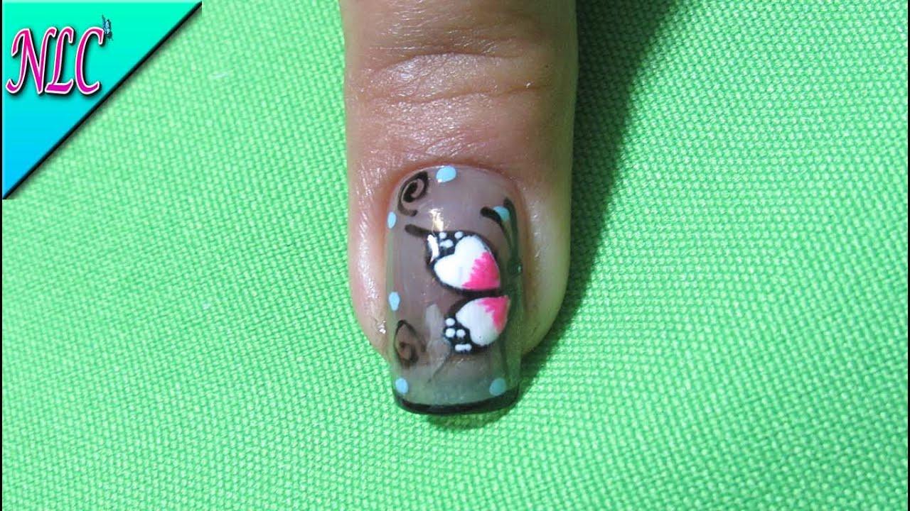 Decoracion de uñas mariposa sobre ahumado - smoked nail art - como ...