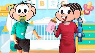 Mônica finge ser babá do Cebolinha virou bebê 👶 volta a ser bebe - virei babá turma da monica lacos