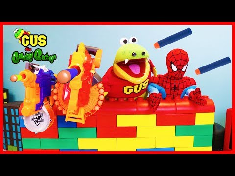 Thumbnail: NERF WAR KID BATTLE Protect the Fort Giant Lego! Gus vs Spiderman Family Fun Playtime