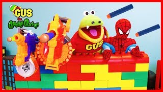 NERF WAR KID BATTLE Protect the Fort Giant Lego! Gus vs Spiderman Family Fun Playtime