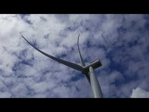 Mega offshore wind turbines at Oesterild test centre in Denmark - Siemens 7MW and Vestas 8MW
