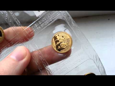 10x 1/10th Gold Panda Bullion Coins HD