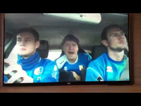 Alan Marriott, Lee Beavers and John Dempster signing in car