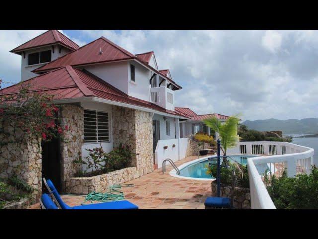 Villa for sale St Martin, Waterfront 2 level villa Eagle's Nest, boat dock