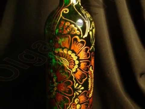 Hand Painted Wine Bottles By Olga Stavrou YouTube New Stained Glass Wine Bottle Decorations