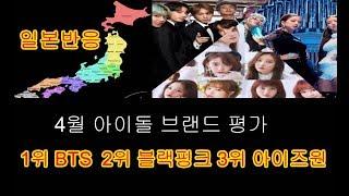 일본반응 4월 아이돌 브랜드 평가 순위 1위 방탄소년단 BTS 2위 블랙핑크 3위 아이즈원