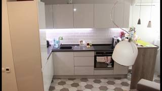 Угловая кухня с барной стойкой. Ф-ра Blum. Фасады МДФ глянец. Столешница из камня кварц. Кухни Киев.