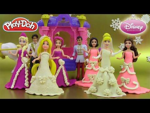 Pâte à modeler Princesse Poupées Magiclip Raiponce Cendrillon Coffret Mariage Reine des neiges thumbnail