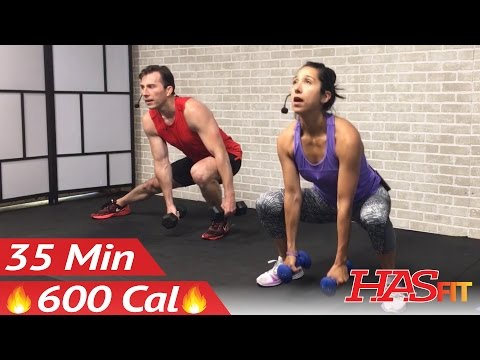 35 Min HIIT Workout for Fat Loss - Home HIIT Workout with Weights - High Intensity Interval Training