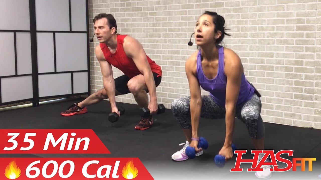 35 Min Home Dumbbell HIIT workout- Burn up to 600 Calories created by HasFit