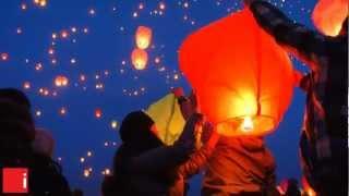 видео китайские небесные фонарики