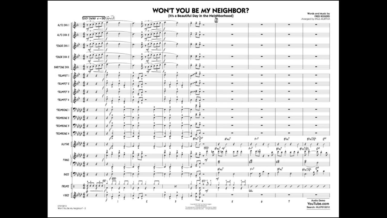 Won T You Be My Neighbor By Fred Rogers Arr Paul Murtha Youtube
