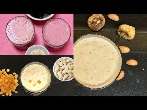 Fruits & Nuts Milkshakes for Upvas Fasting Video Recipe   Bhavna's Kitchen