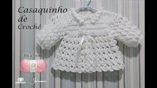 Crochet cardigan for baby size RN to 1 month Professor Simone Eleotério