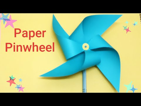 How to make a spinning paper Pinwheel DIY, paper windmill craft for kids