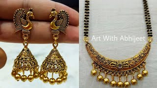 New Mangalsutra and Peacock Earring making at home|| 5 Minute Craft ||Mangalsutra Designs
