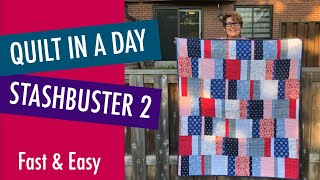 Fast and Easy Beginner Quilt - Quilt-in-a-day Stash Buster Quilt #2 - Free Pattern