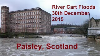 THE RIVER CART IN FLOOD - Paisley, Scotland, 30th December 2015