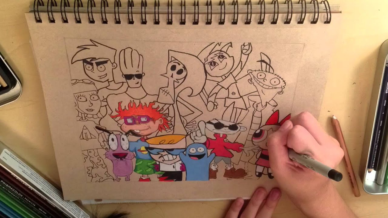 Throwback Cartoons - Colored Pencil Speed Drawing - YouTube