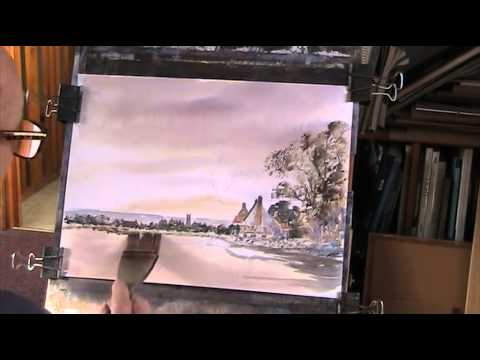 Norfolk Village after Edward Seago. Watercolour