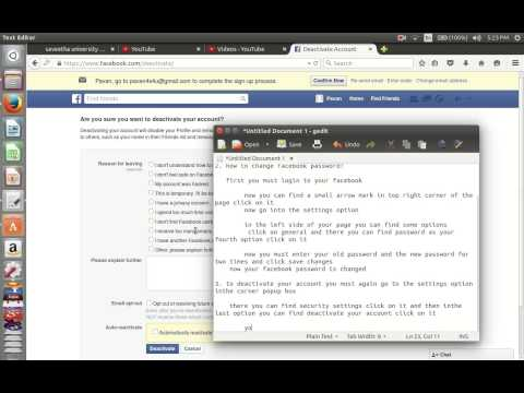 how to change password and username and deactivation of your account and creation of page in faceboo