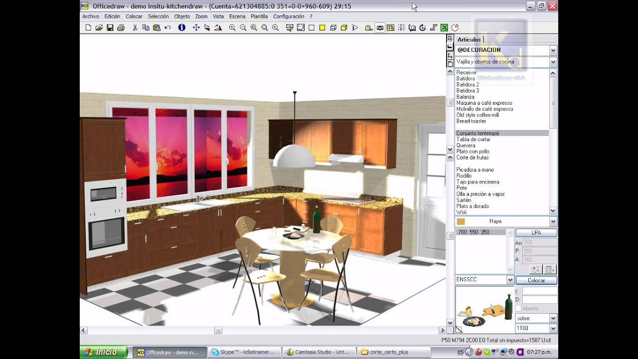 Dise o de cocina con despiece en kitchendraw doovi for Software para muebles