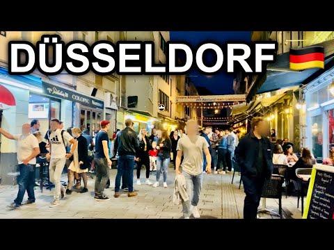 [4K] Friday Night Walk in Düsseldorf Germany 2020 - Longest Bar in the World