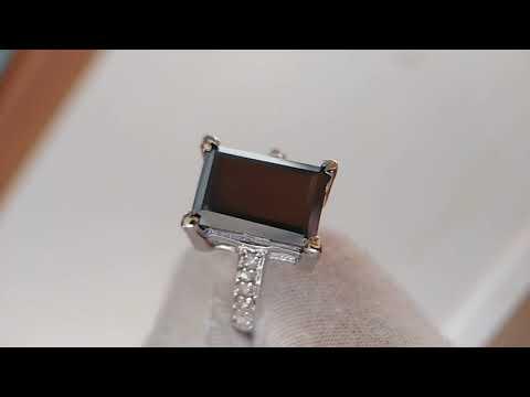 """Кольцо с черным бриллиантом 7  Ct """" Черный бархат """""""