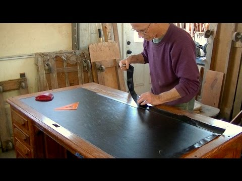Installing Oilcloth For An Antique Desk - Thomas Johnson Antique Furniture Restoration