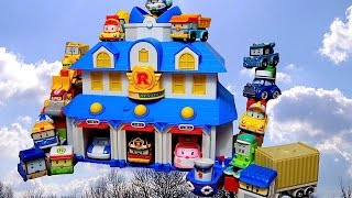 vuclip Full Set RoboCar Poli Die-Cast Toys and Station Unbox and Play - Long Video 로보카 폴리