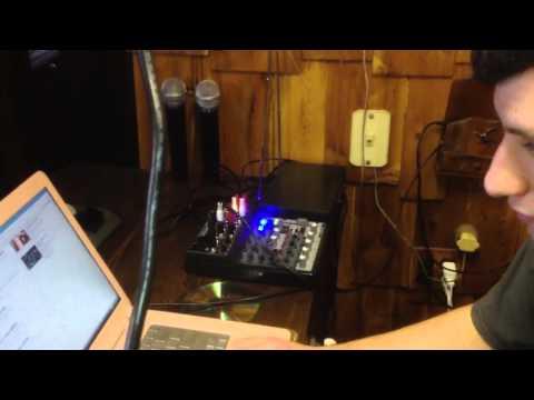 The setup for karaoke