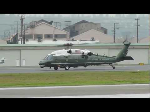 2 HMX-1 VH-60 and 6 blackhawk escorts taking off at Kbfi