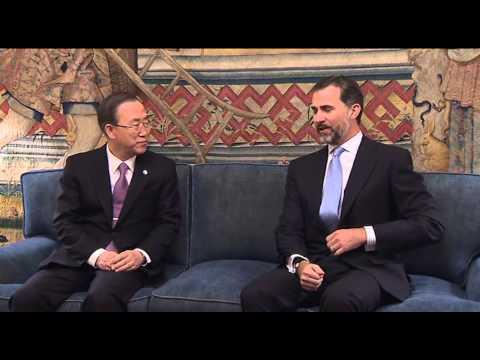 S.A.R. el Príncipe de Asturias recibe a  Ban Ki-moon, Secretario General de Naciones Unidas
