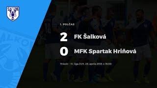 1. polčas, FK Šalková - MFK Spartak Hriňová, 28.4.2018