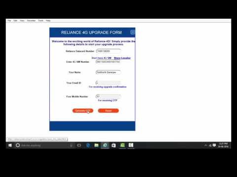 Reliance 4G Data SIM Registration