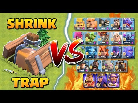 SHRINK TRAP vs ALL TROOPS! Clash of Clans New Shrink Trap Gameplay - Which CoC Troop is Best?