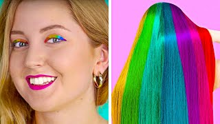 RAINBOW Hacks And Crafts Cool Girly And Beauty Hacks By 123 Go Like