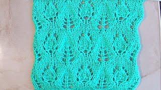 Ажурный узор Листочки с бутонами Вязание спицами Видеоурок 135