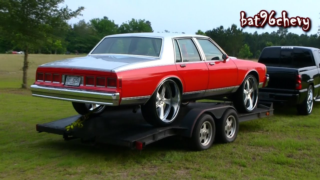 "Chevy Caprice 1988 Red/Silver Box Chevy on 26"" Forgiatos w/ 7"" Lip & Purple ..."
