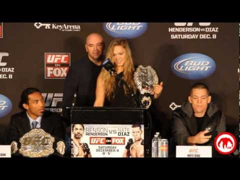 Check Out This Video We Shot Of Ronda Rousey Receiving Her UFC Belt From Dana White