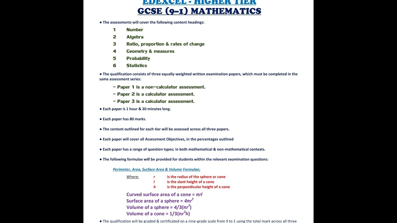 Edexcel Higher Tier Everything You Need To Know Booklet Gcse 91 Math By Mr  Harding 2017
