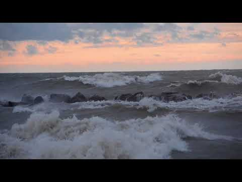High winds and wave action at Barracks Beach at Presque Isle State Park