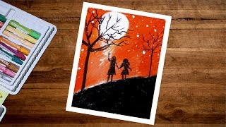 Moonlight Boy And Girl Scenery Drawing With Oil Pastel Step By Step - Couple Drawing