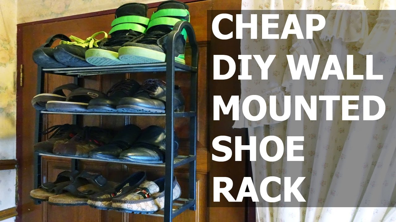 Diy wall mounted shoe rack youtube for Diy wall shelves for shoes