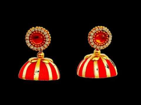 713351d94 Silk Thread Jhumka Green and gold jhumka Plastic Jhumki Earrings ...