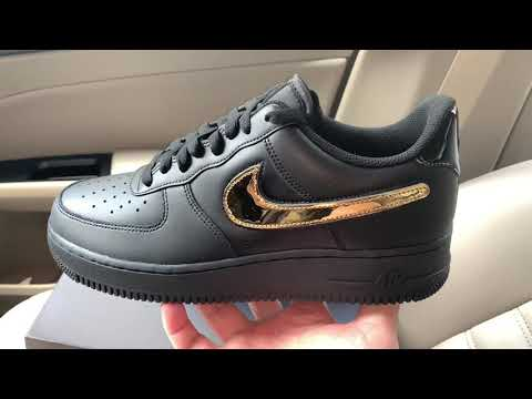 Nike Air Force 1 '07 LV8 3 Black Metallic Gold Removable ...