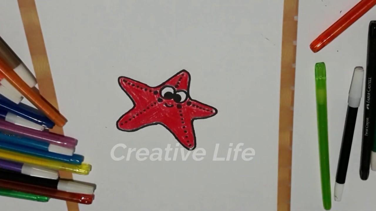 Cara Menggambar Dan Mewarnai Bintang Laut Untuk Anak