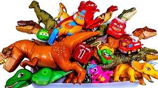 Box of Toys, Lots of Jurassic world dinosaurs, GoGo Dino, Super wings, Dino smahser,Cars 3, Pinkpong