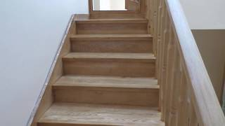 тонировка лестницы  с последующим нанесением лака. Часть 3